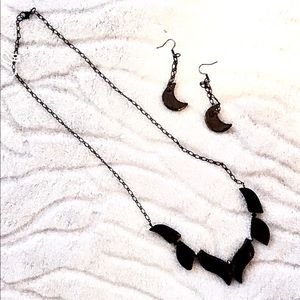 NWOT black onyx necklace and earring set